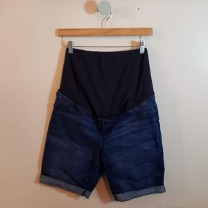Isabel Maternity Dark Wash Bermuda Jean Shorts